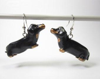 Dachshund earrings - dachshund gift, dachshund jewelry, doxie dachshund, dog lover gift, miniature polymer clay charm black dangle earrings