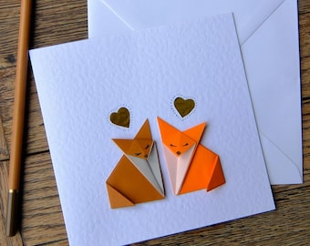 Simple handmade origami cards by jackdawfour on etsy origami foxy love anniversary wedding engagement birthday i love you origami bookmarktalkfo Image collections