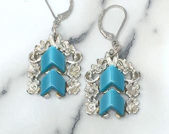 Vintage Thermoset Earrings . Silver and Teal Earrings . Teal Thermoset . Teal Drop Earrings . Bridesmaid Inspo . Gift for Her . Handmade