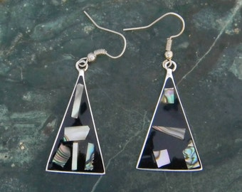 Mexico Alpaca Silver Vintage Dangle Earrings Black Enamel Abalone Shell Inlays H34