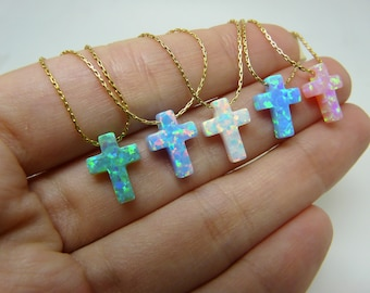 Cross necklace, Opal cross necklace, Blue cross necklace, Cross jewelry, Cross pendant, Cross necklace women