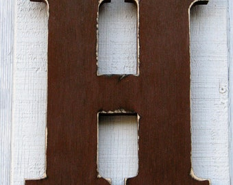 """Rustic Wooden Letter H Distressed Painted Dark Chocolate 12"""" tall Wood Name Letters, Baby room decor"""