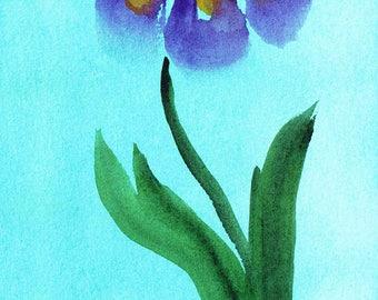 Watercolor Print, Iris, Wall Decor