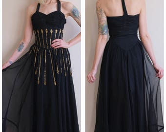 1940s Gown // Straight to My Heart Sequin Gown // vintage 40s gown
