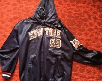 New York jersey, vintage long sleeve t-shirt, hoodie, East Coast hip-hop t-shirt of 90s hip hop clothing, gangsta rap Fubu size XL RARE