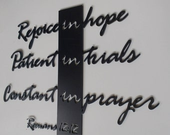 Bible verse, wall art, rejoice, Romans, scripture, metal