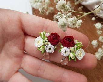 Studs with peonies and roses
