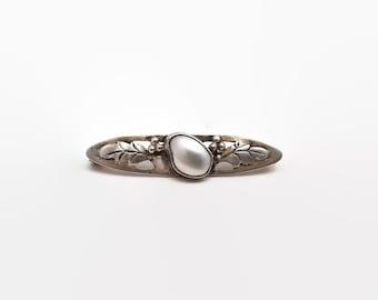 Art Nouveau Sterling Silver Blister Pearl Bar Pin