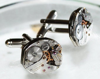 GIRARD PERREGAUX Men Steampunk Cufflinks - Rare Luxury Swiss Silver Vintage Watch Movement Men Steampunk Cufflinks Cuff Links Wedding Gift