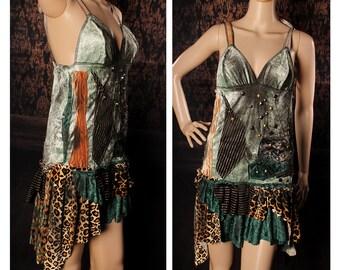 Apocalyptic Dress, short velvet studded tank dress, patchwork babydoll dress, tattered wasteland sundress, rocker, grunge, dirty, wasteland