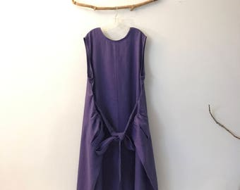 ready to wear light purple linen flutter dress  XXXL /plus size purple linen dress / wide armhole great to wear a blouse under / made in USA