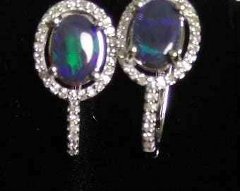 Opal Earrings 14K Natural solid Black Opal from Australia