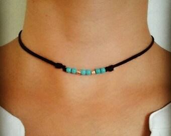 Turquoise Choker, Beaded Choker, Turquoise Necklace, Boho Choker Necklace, Bohemian Choker, Boho Choker, Bohemian Jewelry, Turquoise Jewelry