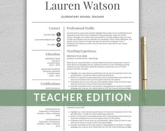teacher resume etsy - Teacher Resume Template