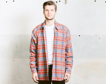 Plaid Flannel Shirt . Men's Vintage 90s Grunge PEAK PERFORMANCE Check Print Lumberjack Jacket Orange Button Down Shirt 80s . size Small