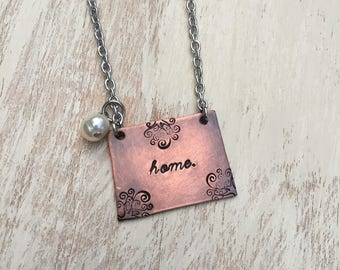 """Colorado Necklace Handstamped Colorado state necklace with 20"""" stainless steel chain and a freshwater pearl"""