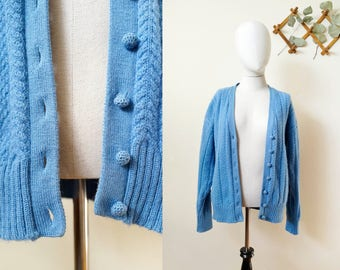 60s/70s blue wool cable knit cardigan, size medium