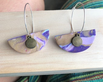 Hoop polymer clay earrings