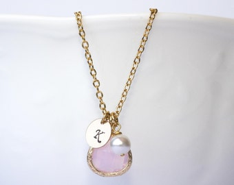 Personalized October Birthstone Gold Necklace, Pink Opal Necklace, October Birthday Jewelry, Personalized Gold Necklace #877