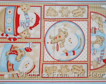 "Cookies & Cocoa Winter Happy Snowmen Snowflakes 23"" Panel Flannel Cotton Fabric"