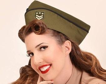 Army Hat - Military Cap - Wedge Cap - Green Hat - Vintage Style Hat - Pin Up Hat - Pinup Cap - Flight Hat - Garrison Cap - Steampunk Hat