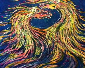 Horses Merge in the Wind  - horses Manes abstract - Original batik painting