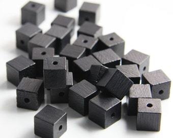 20pcs Wood Beads - Square - Cube - Black 10mm