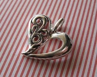 Ornate Filigree Silver Heart Pendant, Fancy Heart, Heart Pendant, Silver pendant, Filigree Heart