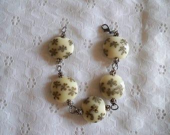Handmade Brown Flowered Porcelain Bead Bracelet