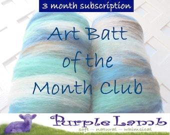 ART BATT CLUB, Art Batt of the Month Club, New and Unique Art Batt, Spinning Fiber, Felting, Soft Art Batt Fiber Club, Art Batt Subscription
