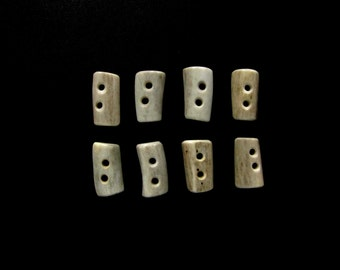 Natural Antler Toggle Buttons,Flat Oval Rectangles,Tines,Sewing,Crafts,Shearling Coats,8 Pieces,B-48
