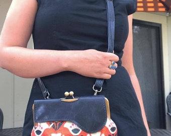 Vegan Bag, Cross body Bag, Leather Bag, Vegan Leather, Floral, Orange Floral, shoulder bag, navy, orange, bag, purse, clutch, Gift for Her,