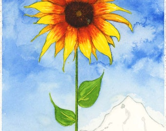 Ode To Farmer Don - Original Watercolor Print of Sunflower - 6 x 9 Inch -   OP303