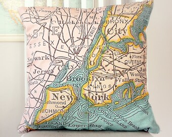New York City vintage map cushion/pillow