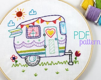Retro Camper. Hand Embroidery Pattern. PDF Pattern. Summer. Camping. Travel. Road Trip. Embroidery Designs. Vintage Camper. Glamping. Cute.