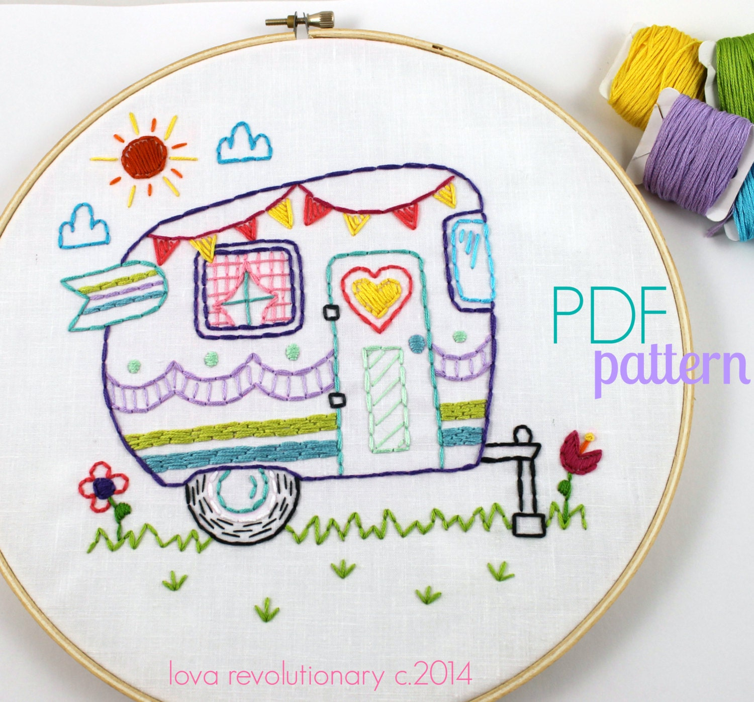 Retro camper hand embroidery pattern pdf pattern summer for Embroidery office design version 9