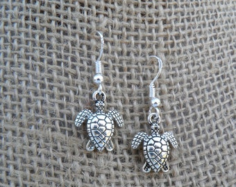 Zoomorphic Sea Turtle Earrings w/925 Sterling Silver French Ear Wires - Turtle Totem Dangle Earrings - Seafaring Series