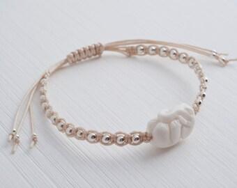 elephant bracelet, petite elephant carved bone bead and sterling silver beads adjustable bracelet | beige ivory, ELEPHANTS NEVER FORGET