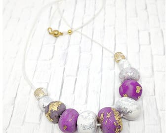 Polymer clay bead necklace statement necklace lightweight necklace purple necklace magnetic clasp necklace one of a kind necklace large bead