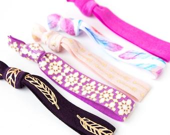 Dreamcatcher Hair Tie Set | Purple + Watercolor Feather Hair Ties, Creaseless Elastic Hair Ties, Gold Boho Hair Tie Set, Bohemian Feathers