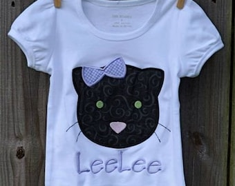 Personalized Halloween Black Cat Applique Shirt or Bodysuit for Boy or Girl