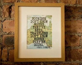 Paul Theroux Inspirational Travel Quote Print - Hand-Pulled Screenprint.