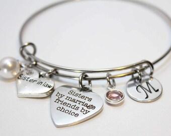 sister in law bracelet, sister in law bangle, sister in law jewelry, sister in law initial bracelet,  sister in law gift, sister in law