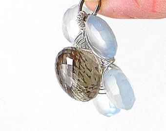 Rutilated Quartz,  Sterling Silver and Aqua Chalcedony Flower Pendant