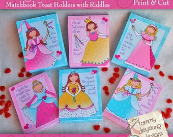 Valentines for girls, Printable Princess Valentines, DIY treat holders, princess party favors, kid Valentine day card, school classroom card