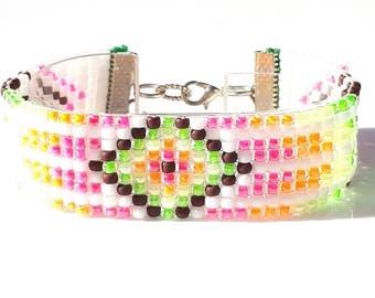 Bead loom bracelet Peyote bracelet Loom bracelet Woven bracelet Neon Brights Japanese Toho Hippie Bohemian Bracelet Seed Beads