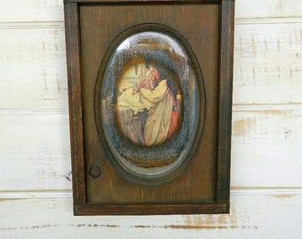 Edwardian Child Picture On Mirror - Rustic Farmhouse Decor - Shabby Chic Decor