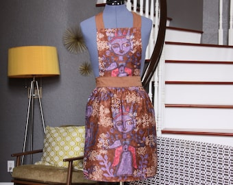 Brown Aprons for Women, Ethnic Women Aprons, Brown Purple Aprons for Sale, Womens Aprons, Vintage Aprons