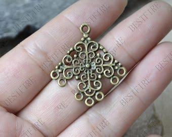 10 pcs of Antique bronze flower Connector pendant,charm Metal Earring Components ,earring  Dangle Connector Pendant charm