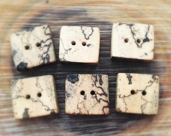 Set of 6 Hawaiian autograph exotic wood buttons